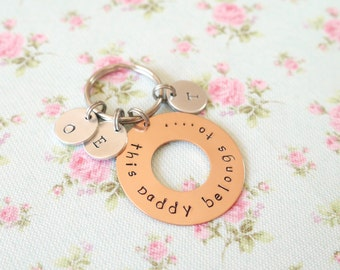 This Daddy Belongs To, Grandad Gift from Children, Personalised Daddy Keychain, Custom Keyring, Childrens Initials, New Dad Gift,Grandad