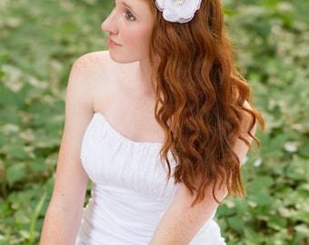 Bridal hair flower wedding flower clip white flower clip fabric flower hair flower hair clip bridal accessories organza