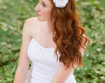Bridal hair flower wedding flower clip white flower clip fabric flower hair flower hair clip bridal accessories organza  Alexis