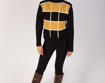Vintage 60s Black and Gold Cable Knit Ski Sweater Small