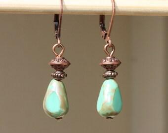 Green Earrings Drop Earrings Dangle Earrings Copper Earrings Glass Earrings Boho Chic Jewelry Gift for her Gift ideas For her Small