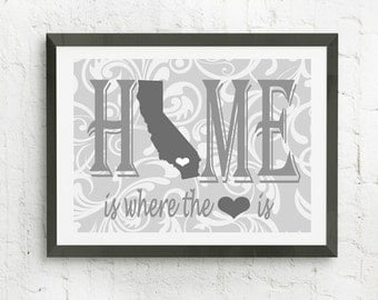 Home Is Where The Heart Is, Personalized Map Print,  Personalized Family Wall Art, Map With Heart, Personalized Art Print, Custom Wall Art,