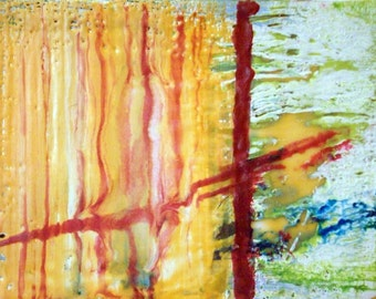 "Original encaustic painting, Blending Textures, 5"" x 7"""