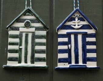 Beach Hut Ceramic Hanging Tile
