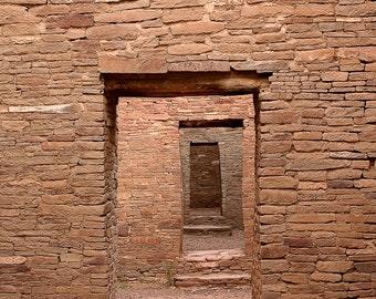 Chaco Canyon Doors Art, New Mexico Pueblo Bonito Anasazi Ruins National Park Color Fine Art Photograph 3
