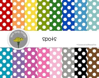 "Rainbow Spots Digital Papers, Dotty, Spotty, 12x12"", Instant Download"