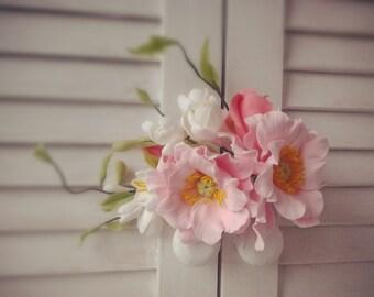 Flower comb Bridal floral comb Pink rose  Bridesmaids  Bridal Floral Crown