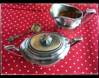 Vintage finnish silverplated Art Deco creamer and sugar container