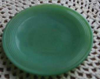 Akro Agate Slag Glass Child's Toy Green Plate 1940 Era