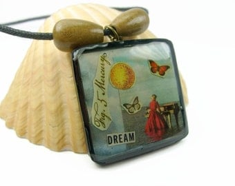 Surreal Dream Imaginative Collage Art Pendant Necklace, Handmade