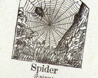 Spider Mennonite Children's Picture Dictionary 1890 Vintage Victorian Engravings Great For Scrapbooking 129