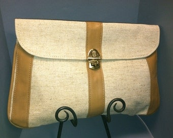LINEN and LEATHER Boho Hipster Clutch Bag, Stylish Vintage 1970s / 1980s Purse
