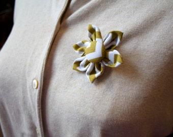 White Fabric Flower Brooch, Flower Pin - Handmade Fabric Flower