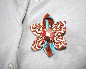Burnt Orange and Blue Fabric Flower Brooch, Flower Pin - Handmade Fabric Flower