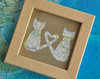 Gift for BFF Gift Best Friend Sister Custom Map Framed Cat Lover