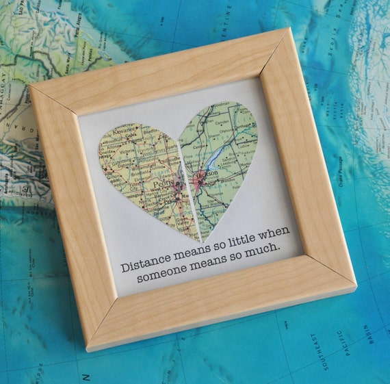 Long distance relationship couple map heart framed with by for Going away gifts for boyfriend