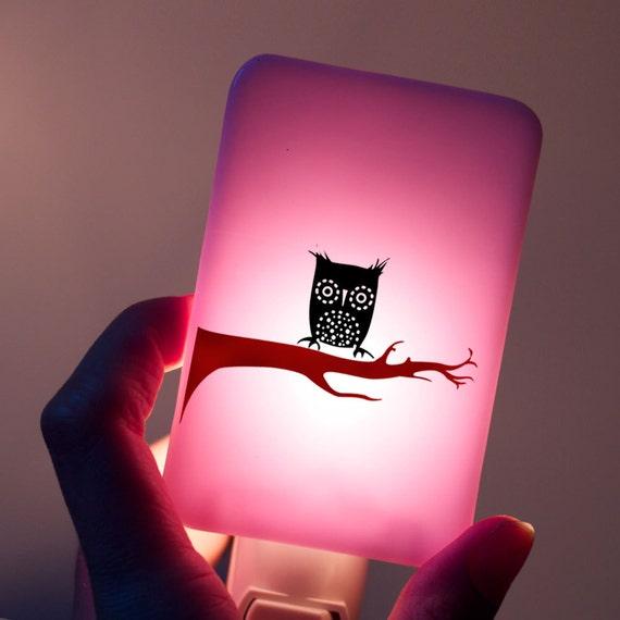 Owl Nightlight On Lavender Fused Glass Night Light By Happyowl