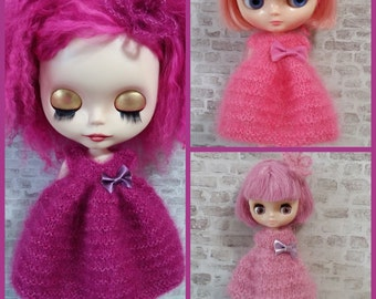 """PDF knitting pattern - Candy Floss dress and flower headband for 12"""" Middie and Petite Blythe"""