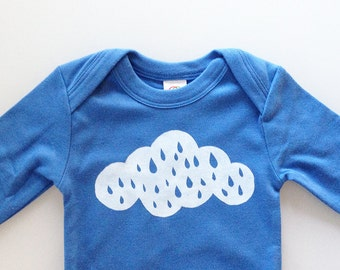 Rainy Day Baby (3-6 mo - blueberry - long sleeve romper)
