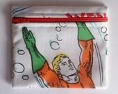 Aquaman Zipper Pouch Coin Purse Case -  DC Comics -  Super Friends Vintage - White Green Orange Pink