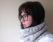 Herringbone cowl - oatmeal tweed beige knit neck warmer - unisex winter warm knitted accessories