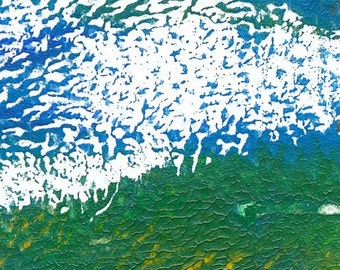 Colourful abstract monoprint abstracted landscape Tiny 2014 series #05 blue green abstract art