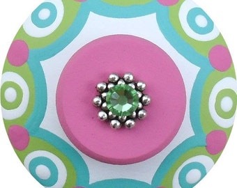 Pink Apple Green and Turquoise Scallop Edge Dots Swarovski Crystal Jeweled Hand Painted Wood Decorative Kids Dresser Drawer Pull Knobs Pulls