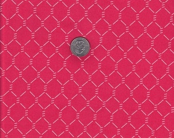 Jack and Lulu E-I-E-I-O Red Chicken Wire - Dear Stella cotton quilt fabric - half yard