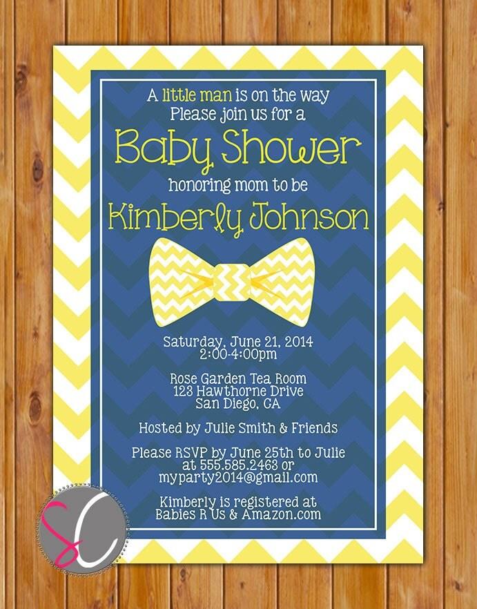 yellow little man bow tie baby shower invitation navy blue