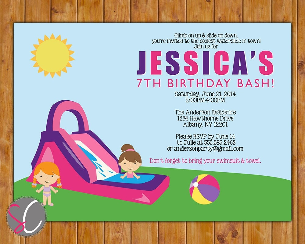 water slide invite waterslide birthday party invite girl s pink purple pool party invitation water slide summer fun printable 5x7 birthday invitation 55 2