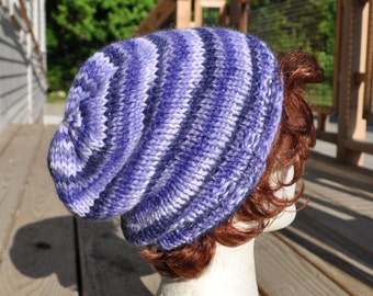 Wool Knit Slouchy Hat - Periwinkle Striped Knit Hat - Women's Hat Winter Baby Alpaca Purple Lavender