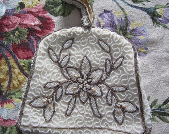 Antique Belgium Seed Beaded Purse with Loop Handle Strap