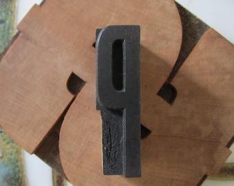 Letter P Antique Letterpress Wood Type Printing Block