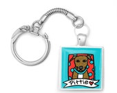 Brindle Pit Bull Love Key Ring Fob