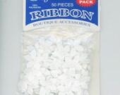 Offray White Satin Five Petal Ribbon Flower Appliques, Bridal, Destash
