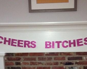 Medium Cheers Bitches Banner - Pink Glitter