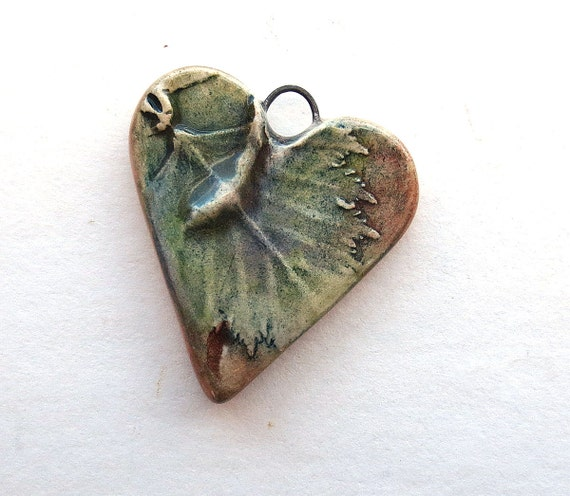 Heart Pendant Birch Leaf Rustic Style