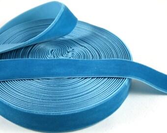 Deep Blue 16mm Polyester Velvet Ribbon- 1 Yard