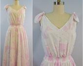 Vintage Royal Hawaiian Creations Pink and White Hawaiian Leaf Print Shoulder Tie Dress Sundress