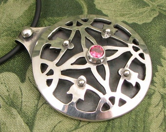 "Mandala ""A Geometry of Plants"" sterling and ""salmon sorbet"" pink CZ pendant - OOAK"