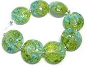 Land to Sea Twist Lentils Handmade Lampwork Glass  Beads