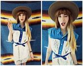 Denim and Lace Dress, Crocheted Lace Dress, Lace Dress, Boho Lace Dress, Crochet Dress, Denim Shirt Dress, Vintage Denim Shirt, Shirt Dress
