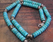 """Beautiful Turquoise Bead Necklace with Sterling SIlver Accents and Clasp. Adjustable 18-24"""" with Chain at Back. Stamped"""
