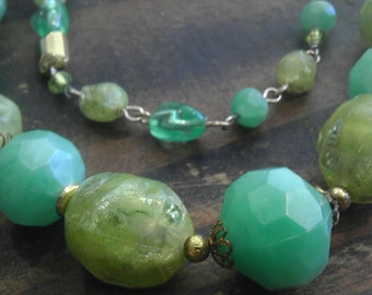 Restrung Vintage Green Lucite Bead Collage Necklace-  Clear, Swirled, Faceted and More with Original Clasp