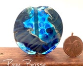 Handmade Lampwork Watercolor Focal Bead in Ivory and Watery Blues by Pam Brisse aka The Blue Between