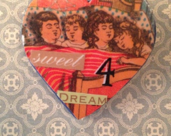 Sweet Dreams- Collaged Art Pin
