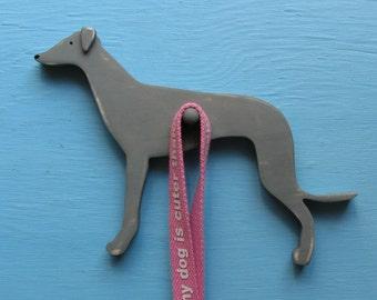 Whippet Dog Wood Leash Holder Key Hook