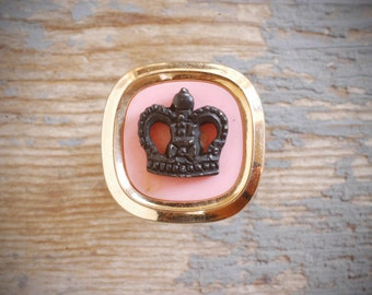 diva princess glam crown ring. vintage re-purposed adjustable, black & pink crown with gold tone on antiqued brass-plated filigree by val b.