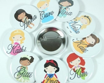 6  Personalized DISNEY PRINCESS Mirrors, Pinback Buttons, Magnets, Bottle Openers, Bachelorette, Bridesmaid Favor, Birthday Party Favor
