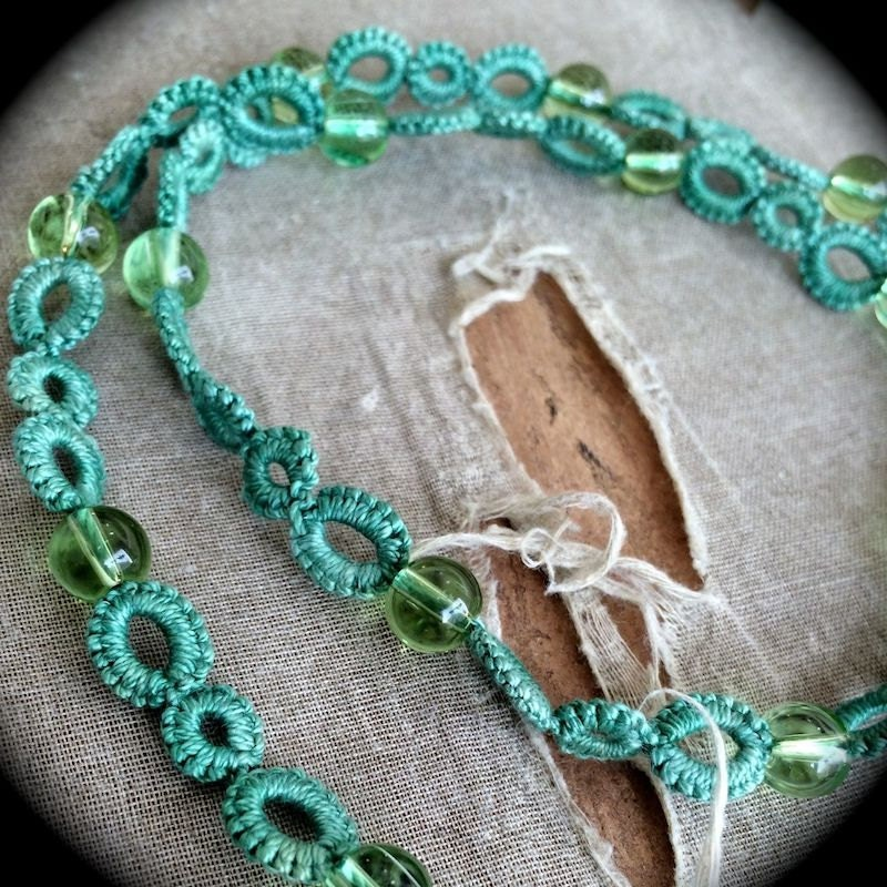 https://www.etsy.com/listing/170801397/tatted-necklace-with-glass-beads-green?